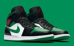 Air Jordan 1 Mid Black Pine Green White 554724-067 Basketbal