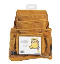 10-Pocket Leather Nail Bag