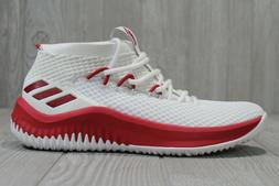 48 Adidas Dame 4 White Red Basketball Shoes ART AC7276 Size