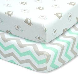 CUDDLY CUBS Set of 2 Jersey Cotton Fitted Crib Sheets in Gra