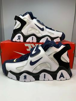 Nike Air Barrage Mid White Midnight Navy Basketball Shoes AT