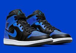 Nike Air Jordan 1 Mid Shoes Black Hyper Royal White 554724-0