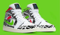 Nike Air Jordan 1 MID White Blue Black 554724-119 Basketball