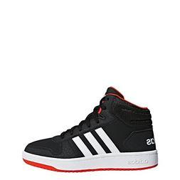 adidas Unisex Hoops 2.0 Basketball Shoe, Black/White/red, 4