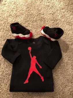 Baby Outfit J Basketball Air Pants Bodysuit red boy 1 Bred C