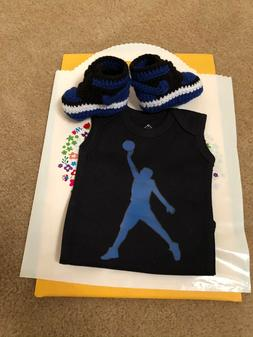Baby Sneaker J Basketball Air Pants Bodysuit blue boy 1 Bred