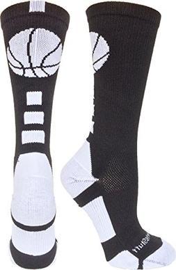 MadSportsStuff Basketball Logo Athletic Crew Socks, Medium -