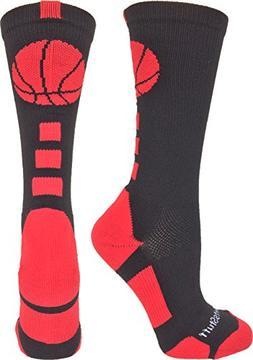 MadSportsStuff Basketball Logo Athletic Crew Socks, Small -