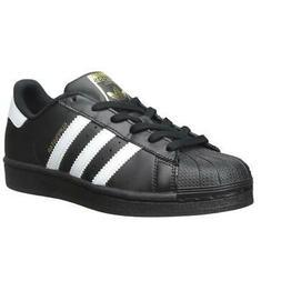 adidas Boys Kids Superstar J Foundation Black White Leather