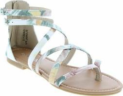 Anna Shoes Casey-2 Women's Strappy Buckle Accent Zip Heel Fl