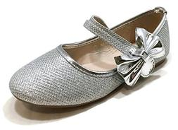Anna Shoes Womens Dimple-5K Flats Silver 1 M US Little Kid