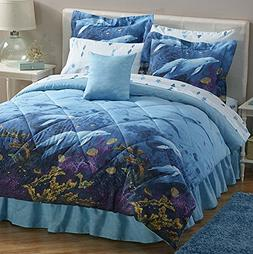 Dolphins Under The Sea Full Comforter, Sheets, Shams & Bed S