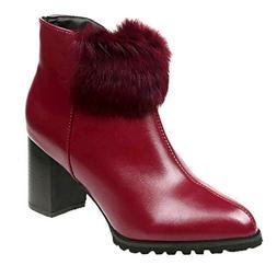 Mysky Fashion Women Simple High Heel Leather Solid Martain B