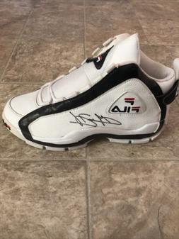 Grant Hill Autographed Fila White Basketball Shoe