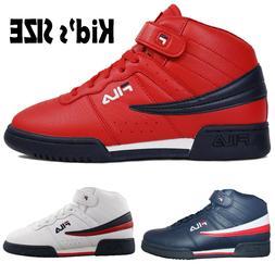 Kids Fila F13 F-13 Classic Mid High Top Basketball Shoes NAV