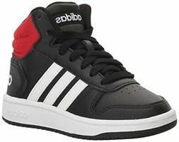 adidas Kids' Hoops Mid 2.0 Basketball Shoe, Black/White/Red,