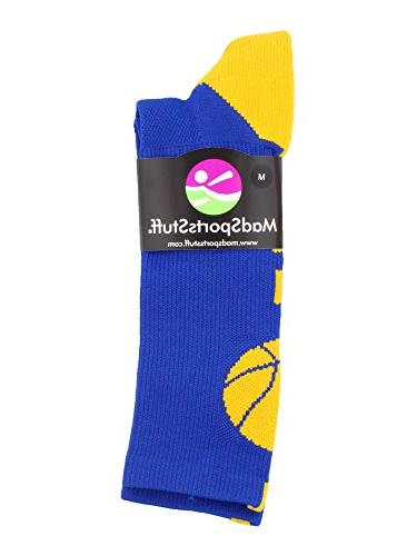 MadSportsStuff Basketball Athletic Crew Socks, Royal/Gold