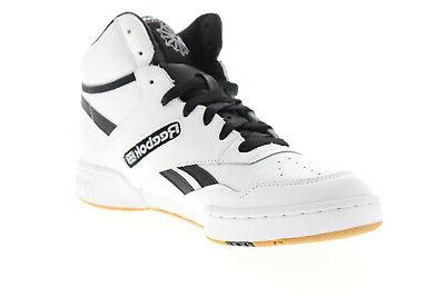 Reebok BB Mens White Leather Up Athletic Shoes