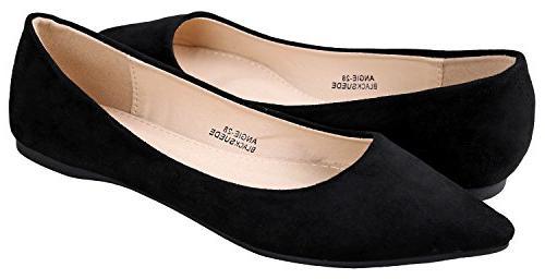 Bella Marie Women's Pointy Toe Ballet Black Suede 8 B