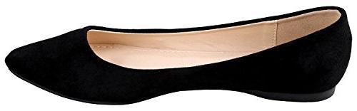 Bella BellaMarie Women's Classic Pointy Ballet Shoes Suede 8 B