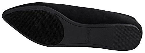Bella Women's Classic Pointy Toe Ballet Shoes Black Suede US