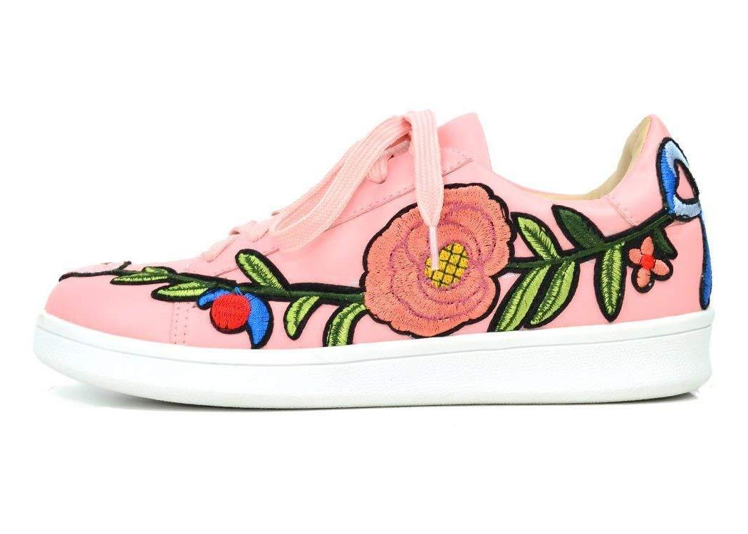 Chase & Chloe Celine-1 Women Fashion Sneaker with Embroidery