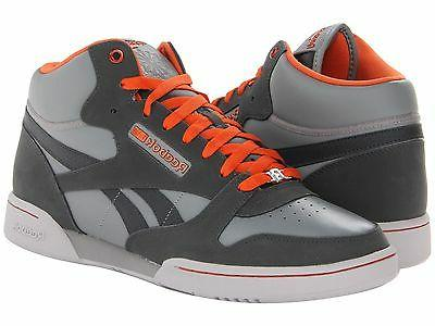 REEBOK CLASSIC EXERTION MID BASKETBALL SNEAKER GREY ORANGE N