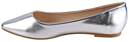 Bella Pointy Flat Shoes US, Silver)
