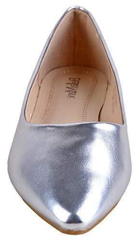 Bella Women's Pointy Ballet Flat Shoes US, Silver)