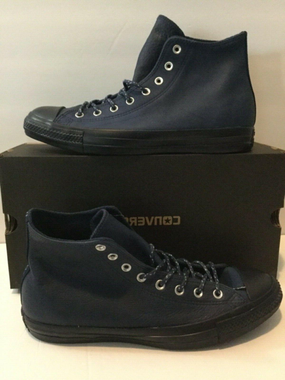 ctas hi shoes navy leather mens size