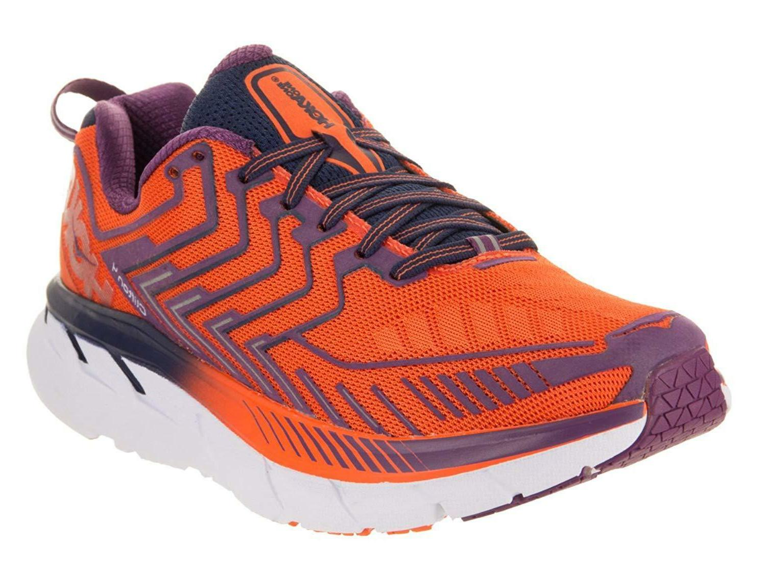 HOKA ONE ONE Women's Clifton 4 Red Orange/Peacoat Running Sh