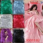 Ice Silk Soft Satin King Queen Twin Size Quilt Cover Set Bed