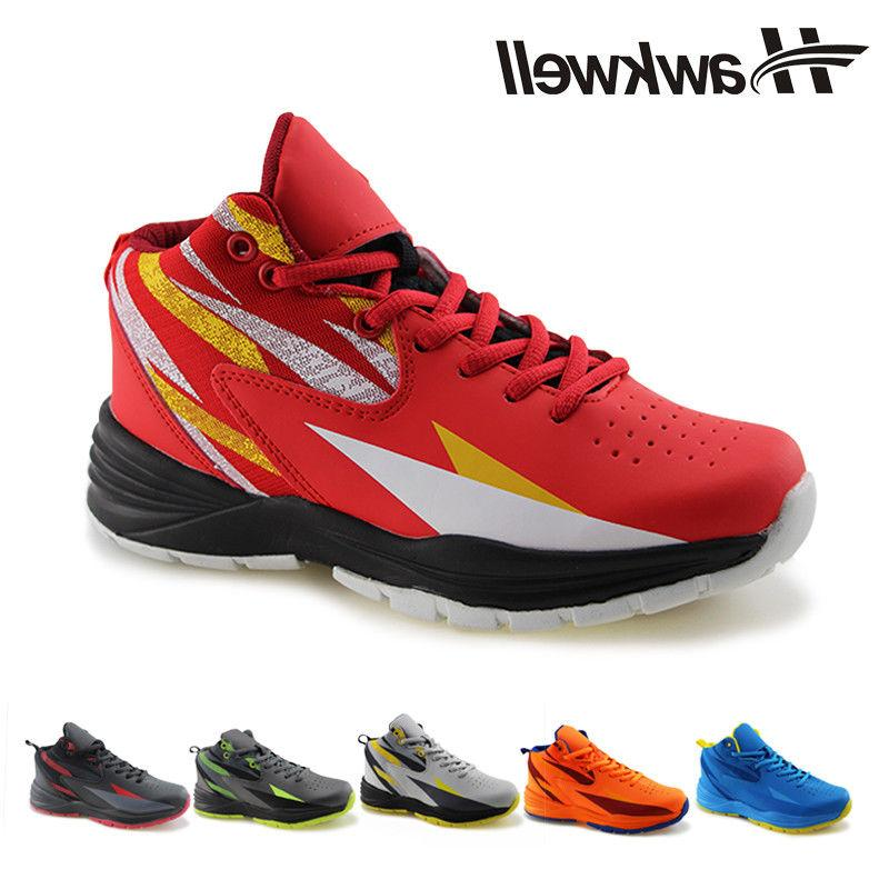 8cac720d7c64 Hawkwell Kids Breathable Basketball Sports Shoes Ankle Lace-