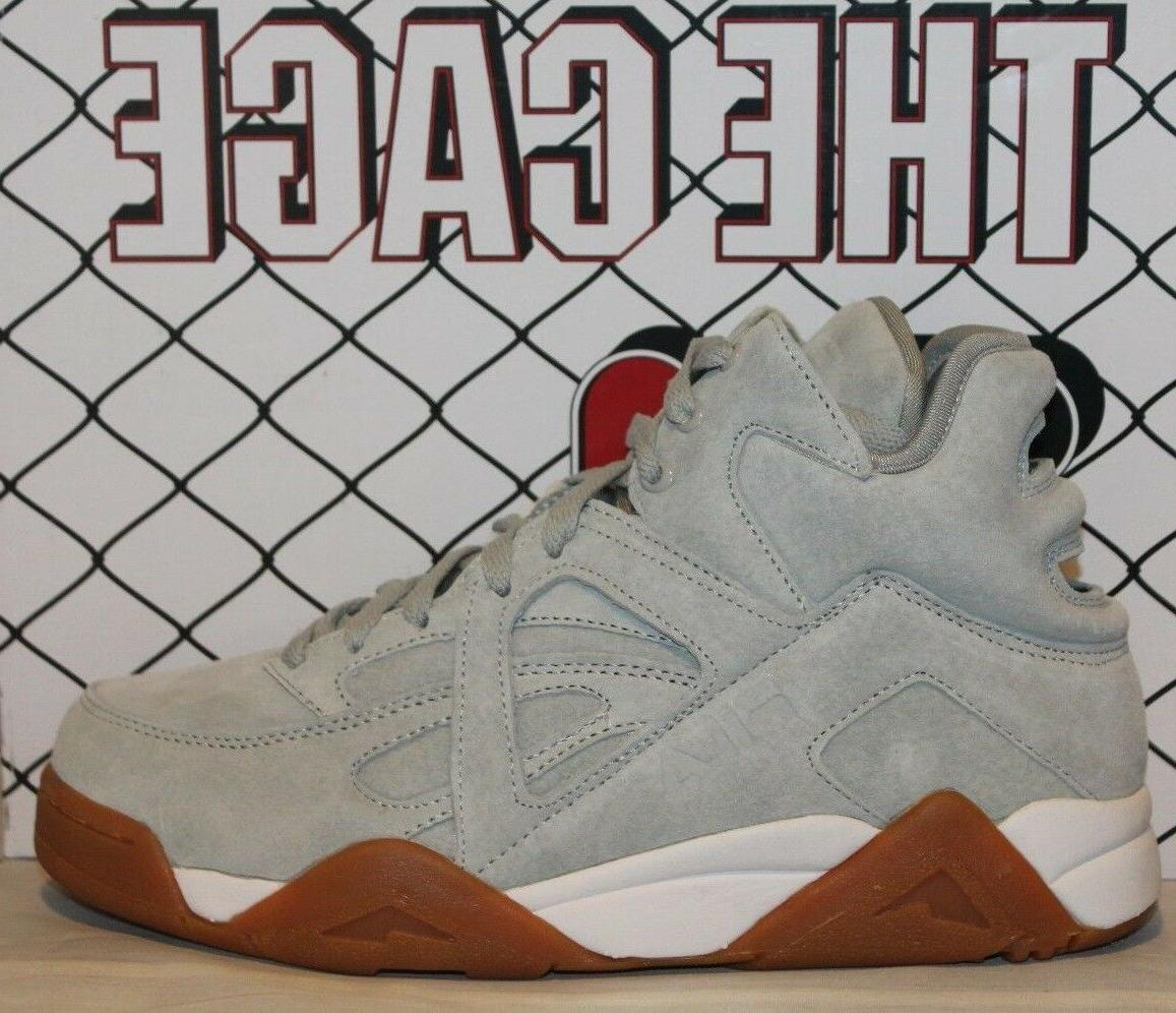 mens the cage grey suede hris white