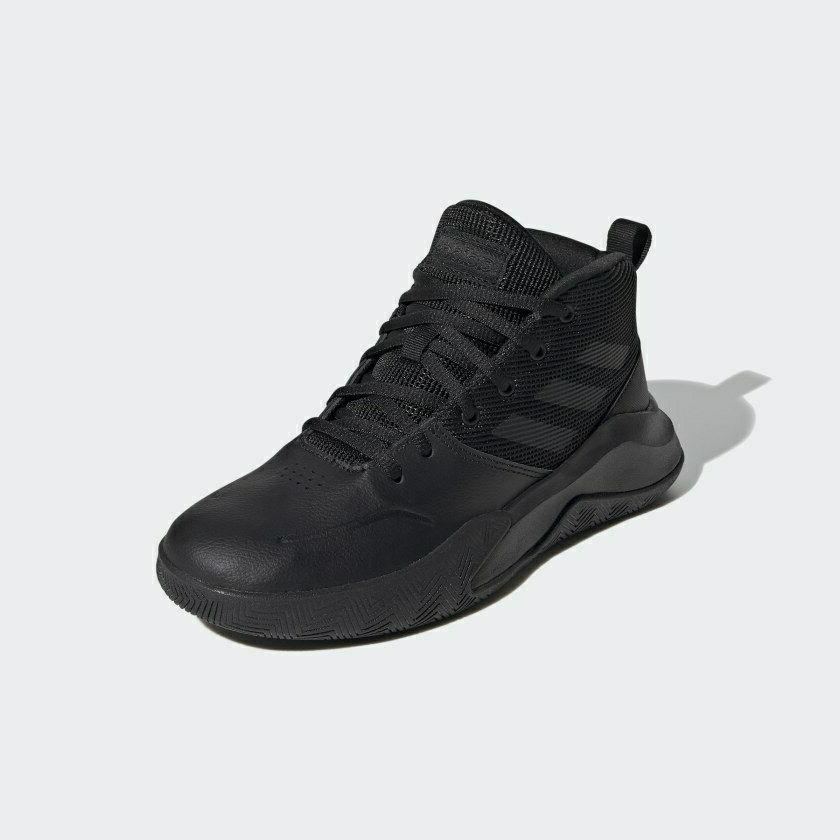 adidas Own The Wide Kids Black Basketball Shoes Sz