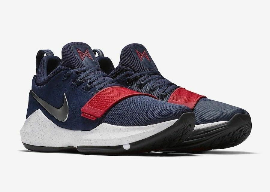 Nike PG 1 Mens Basketball Shoes 8 Navy Red White 878627 900