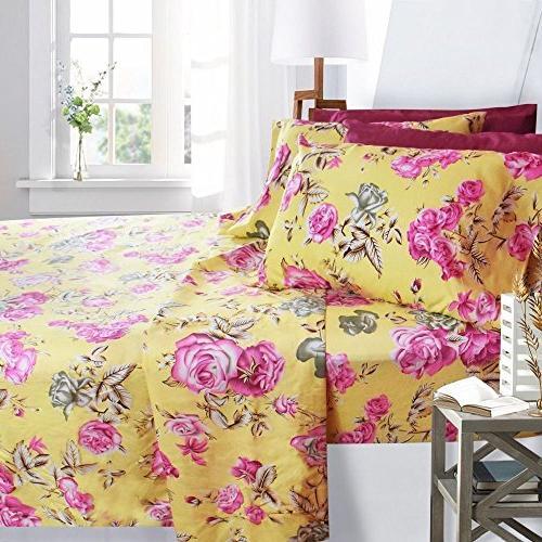 printed bed sheet set roses
