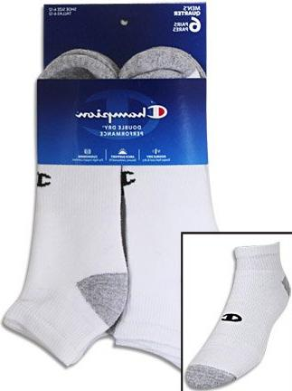 Champion 6-Pack Quarter Socks, White/Grey,