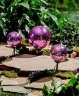Set of 3 Solar Accent Light Gazing Ball Orb Garden Yard Stak