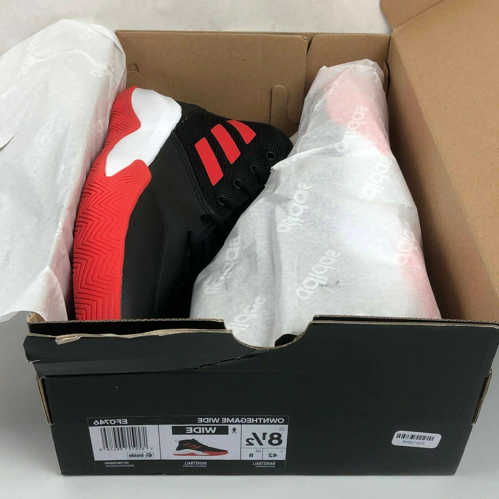 Size 8.5 WIDE adidas OwnTheGame Basketball EF0746 Black/Active Red