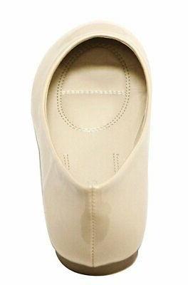 Bella round toe patent slip fla...