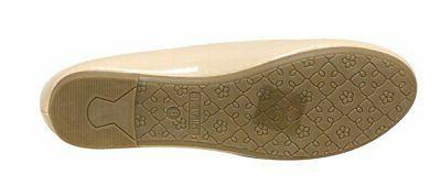 Bella round toe leather fla...
