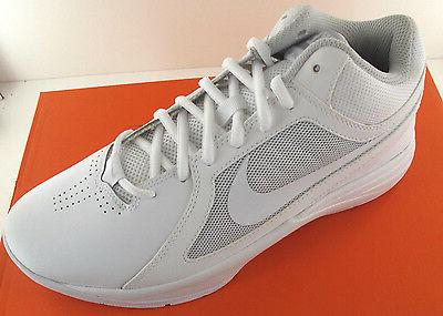 Nike The Overplay VIII Mens White Leather Basketball Shoes -
