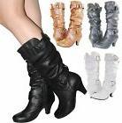 Women Boots Kitten Heels Style Fashion Mid Calf Slouch Faux