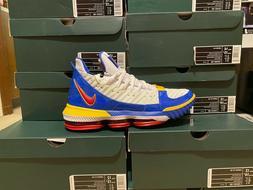 """Nike Lebron XVI """"SuperBron"""" White Blue Red CD2451-100 Basket"""