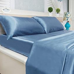 4-Piece Super Soft Silky Satin Bed Sheet Set, Multiple Color