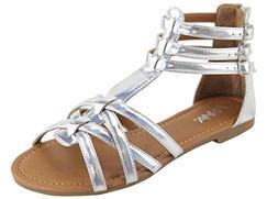 ANNA Mavis-7 Women Buckle Zip Ankle Cuff Flat Gladiator Sand