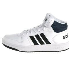 Men Adidas Hoops 2.0 Mid Basketball Shoes DB0080 White Black