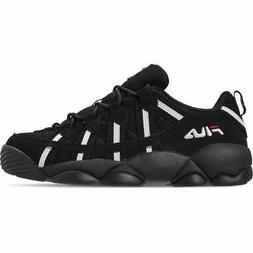 Men's FILA Spaghetti Low Basketball Shoes Black/White/Red 1B