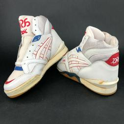 ASICS Mens 7 Red White Blue High Top Basketball Sneakers Sho